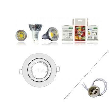 Spot composé - Douille GU10 - Ampoule LED 5W 4000k - Collerette ronde orientable