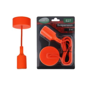 DOUILLE SILICON + CABLE 2 METRES ORANGE