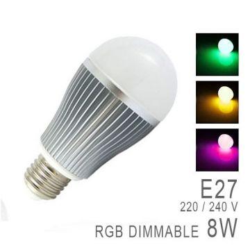 LED RGB E27 avec télécommande radio-fréquence