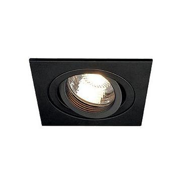 NEW TRIA 1 GU10 encastré, carré, noir mat, max. 50W, clips ressorts