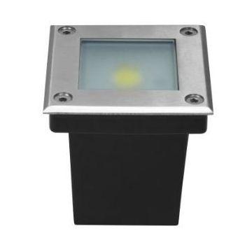 DEC_SOL5W SPOT CARRE ENCASTRABLE LED COB 5W BLANC FROID pot d'encastrement inclus. INOX 316 / IP64. (emballage boîte) - Lumihome