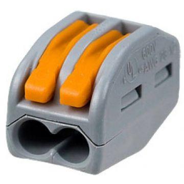 Borne Wago de connexion 2273 - 412 2x0.08-4mm² - fils souple ou rigide / Gris