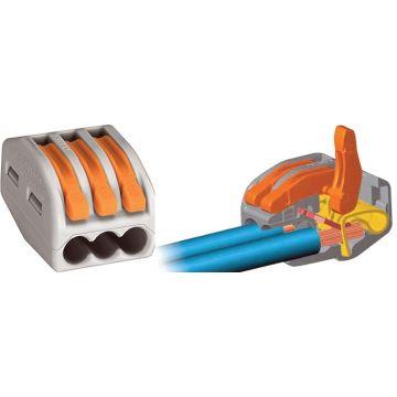 Borne Wago de connexion 2273 - 412 3x0.08-4mm² - fils souple ou rigide / Gris - Lot de 100
