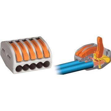 Borne Wago de connexion 22 - 4152 5x0.08-4mm² - fils souple ou rigide / Gris - Lot de 40