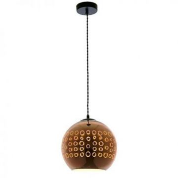PD9002 3D GLASS PENDANT - E27 MAX 40W COPPER-CIRCLES D250xH220mm