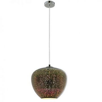 PD9025 3D GLASS PENDANT -  CHROME FIREWORKS  D400xH345mm