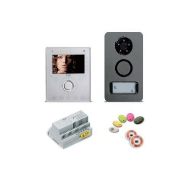 Kit vidéo mini note mains-libres (moniteur,plaque de rue, 5 badges, 2 puces, alimentation)