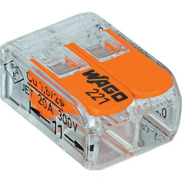 Borne de polarité WAGO 221-412 Nombre de pôles: 2 transparent, orange 100 pc(s)