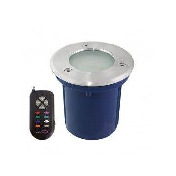 SPOT ROND ENCASTRABLE 28 LED RGB SMD + TELECOMMANDE RF. Pot d'encastrement inclus. INOX 316 / IP64 (emballage boîte)