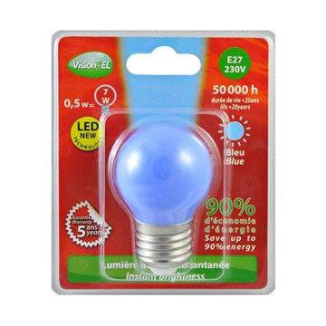 Ampoule LED Vision-EL Globe E27 0,5W bleu 7619B