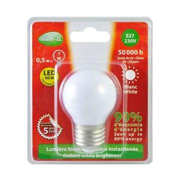 Ampoule LED Vision-EL Globe E27 0,5W blanc froid 7616B