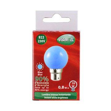Ampoule LED Globe B22 1W bleu VISION-EL 7643C