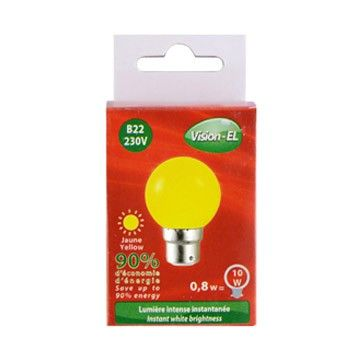 Ampoule LED Vision-EL Globe B22 0,8W jaune 7645C