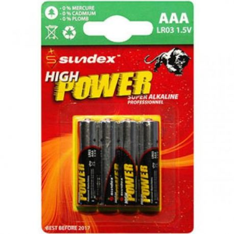 PILES LR03 AAA SUNDEX PACK X 4 SUPER ALCALINES 12-48