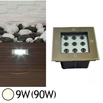 Spot LED carré encastrable au sol 9W 4500°K  IP67 VISION-EL 7064