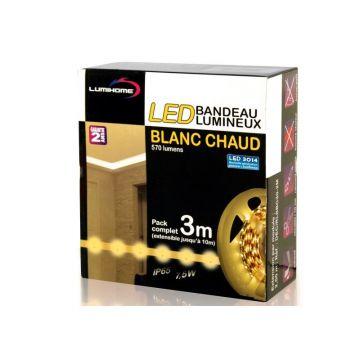 DEC/SET-3BC KIT COMPLET STRIP BLANC CHAUD 3M - 90 LED - 12V - IP65 - Lumihome