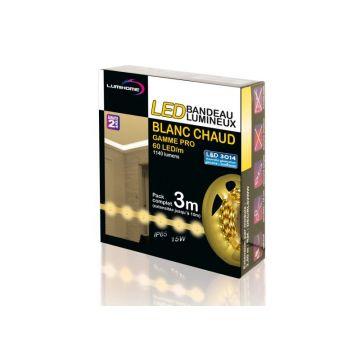 DEC/SETPRO-3BC KIT COMPLET STRIP BLANC CHAUD 3M - 180 LED - 12V - IP65 - Lumihome