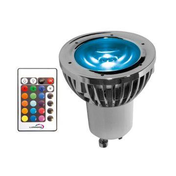 RGB/10P PACK SPOT RGB 5 WATT TYPE GU10 / 230VAC + Télécommande / mode mémoire (emballage blister)  - Lumihome