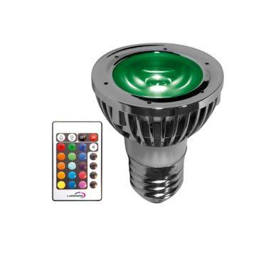 RGB/14P PACK SPOT RGB 5 WATT TYPE E14 / 230VAC + Télécommande / mode mémoire (emballage blister)  - Lumihome