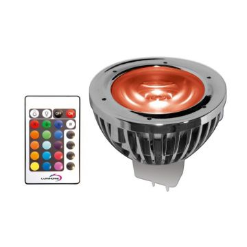 RGB/16P PACK SPOT RGB 5 WATT TYPE GU5.3 / 12V AC/DC + Télécommande / mode mémoire (emballage blister)  - Lumihome