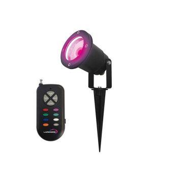 RGB/GL28 SPOT PIQUET EXTERIEUR 28 LED RGB + TELECOMMANDE RF / IP65 / piquet de sol inclus. (emballage boîte)  - Lumihome