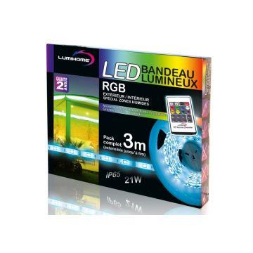 RGB/SRK3-ET KIT COMPLET STRIP RGB 3M - 90 LED - 12V - IP65 - Télécommande RF - Transfo 12V 30W IP67 - Lumihome