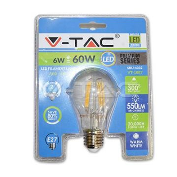 Ampoule LED 6W Filament E27 A60 3000K Blister Pack VT-1887