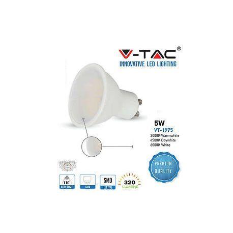 VT-1975LED Spotlight - 5W GU10 SMD White Plastic 320Lm 3000K 110°