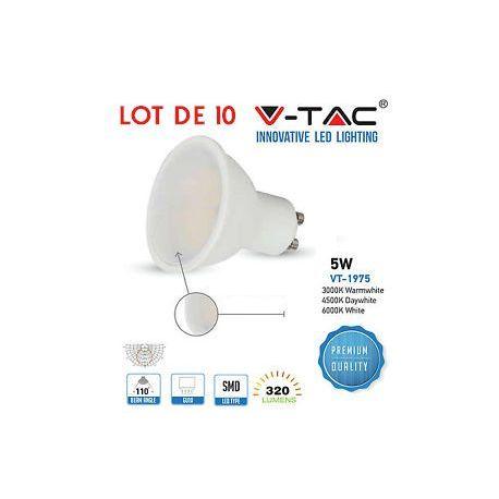 VT-1975 ampoule LED GU10 SMD 5W 110 degrés blanc chaud SKU-1685