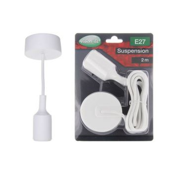 DOUILLE SILICON + CABLE 2 METRES BLANC