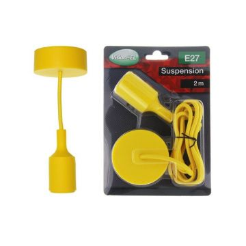 DOUILLE SILICON + CABLE 2 METRES JAUNE