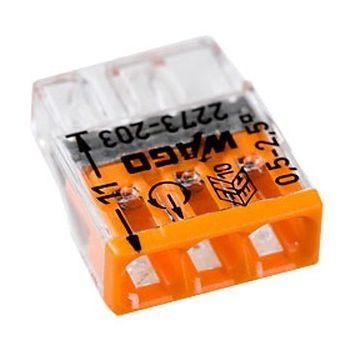 Borne Wago 2273 - 3 x0.5 à 2,5mm² Transparent / Orange