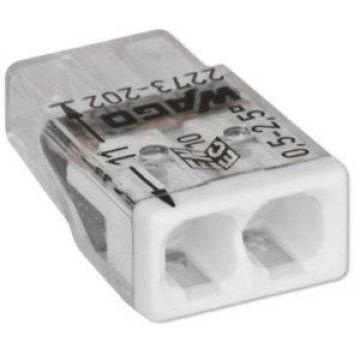 Borne Wago 2273 - 202 2 x0.5 à 2,5mm² Transparent / Blanc - lot de 100