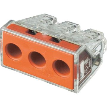 Borne de raccordement WAGO 773-173 rigide: 2.5-6 mm² pôles: 3 transparent, rouge - LOT de 10