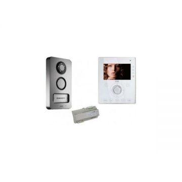 Kit vidéo mini note mains-libres (moniteur,plaque de rue, alimentation, coupleur de bus)