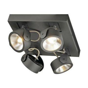 KALU LED 4 applique/plafonnier, carré, noir, LED 60W, 3000K, 24°