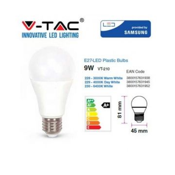 VT-210 9W A58 PLASTIC BULB WITH SAMSUNG CHIP COLORCODE:3000K E27