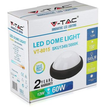 VT-8015 12W FULL ROUND IP54 DOME LIGHTS COLORCODE:3000K BLACK BODY