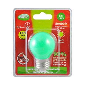 Ampoule LED Vision-EL Globe E27 0,5W vert 7620B