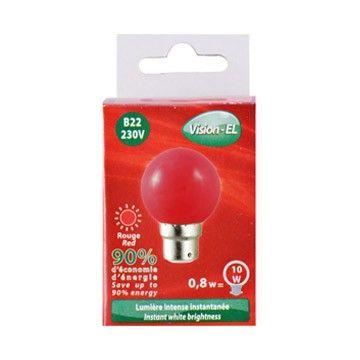 Ampoule LED Vision-EL Globe B22 0,8W rouge 7642C