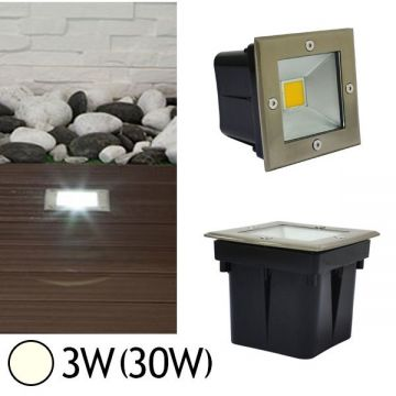 Spot LED carré encastrable au sol 3W 4500°K IP67