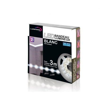DEC/SET-3W KIT COMPLET STRIP BLANC FROID 3M - 90 LED/M - 12V - IP65 - Lumihome