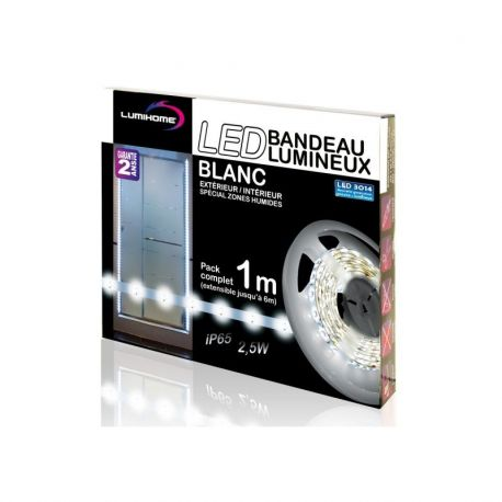 DEC/SWK1-ETN KIT COMPLET STRIP BLANC FROID 1M - 30 LED - 12V - IP65 - Transfo 12V 15W IP67 - Lumihome